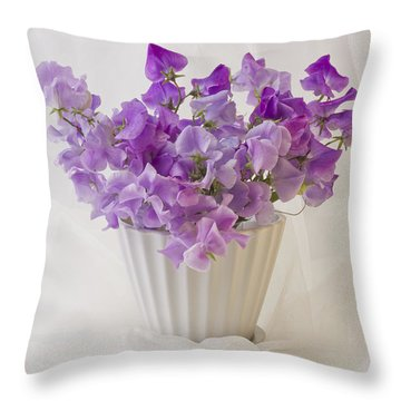 Lavender Sweet Peas And Chiffon Throw Pillow by Sandra Foster