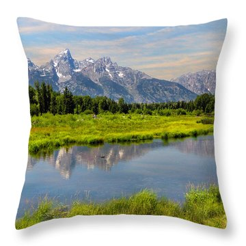 Lavender Teton Peaks  Throw Pillow