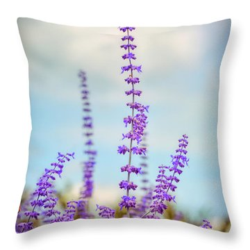 Throw Pillow featuring the photograph Lavender To The Sky by Kerri Farley