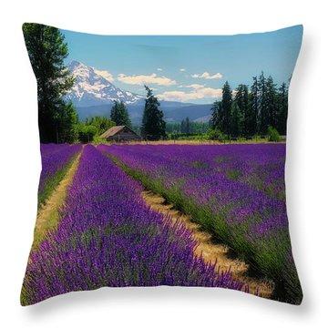 Lavender Valley Farm Throw Pillow
