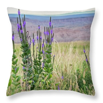 Lavender Verbena And Hills Throw Pillow