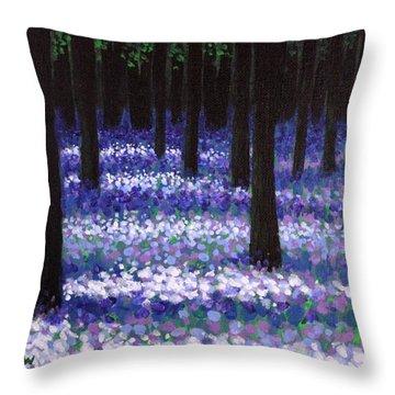 Lavender Woodland Throw Pillow by John  Nolan