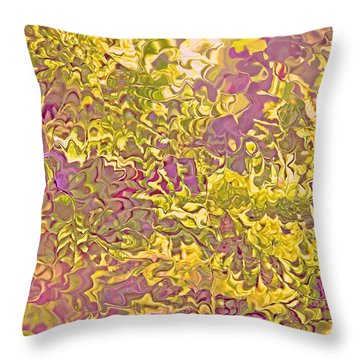 Lavender Yellow Abstract Throw Pillow by Cindy Lee Longhini