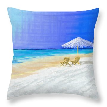 Lawn Chairs In Paradise Throw Pillow by Jeremy Aiyadurai
