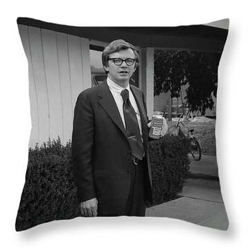 Lawyer With Can Of Tab, 1971 Throw Pillow