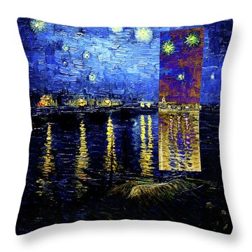 Layered 15 Van Gogh Throw Pillow