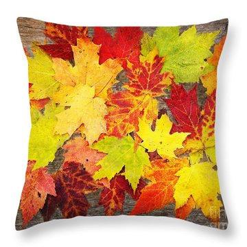 Layered In Leaves Throw Pillow