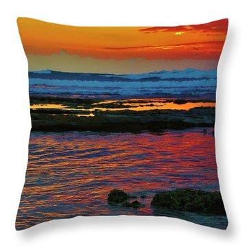 Layered Sunset Throw Pillow