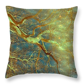 Throw Pillow featuring the digital art Layering Thoughts  by Delona Seserman