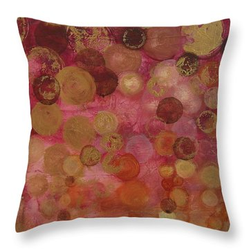 Layers Of Circles On Red Throw Pillow by Kristen Abrahamson