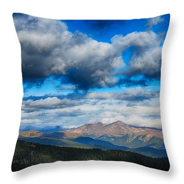 Layers Of Clouds On Mount Evans Throw Pillow
