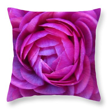 Layers Of Pink Unfolding Throw Pillow by Rita Mueller