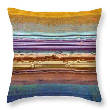 Layers With Orange And Blue Throw Pillow by Michelle Calkins