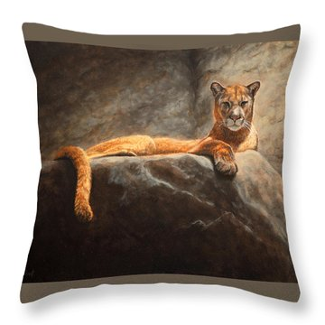 Laying Cougar Throw Pillow