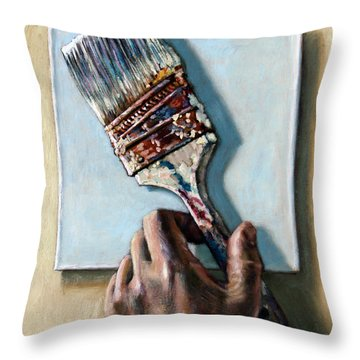 Laying Down The Paint Brush Throw Pillow
