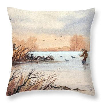 Laying Out The Decoys I Throw Pillow by Bill Holkham