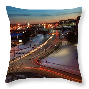 Throw Pillow featuring the photograph Lazer Lights In Bangor by Greg DeBeck