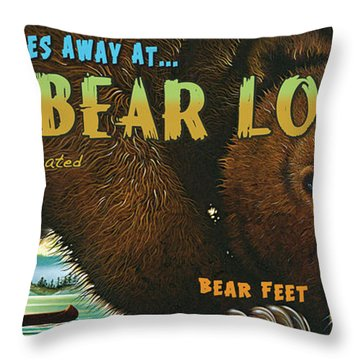 Throw Pillow featuring the painting Lazy Bear Lodge Sign by Wayne McGloughlin