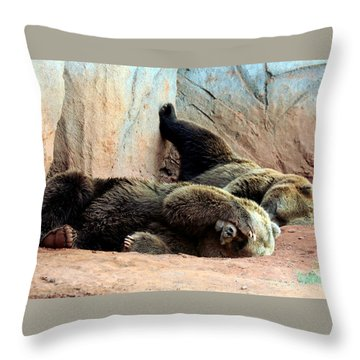 Throw Pillow featuring the photograph Lazy Bears by Sheila Brown