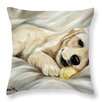 Lazy Bones Throw Pillow by Mary Sparrow