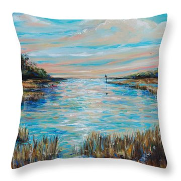 Lazy Coastal River II Throw Pillow