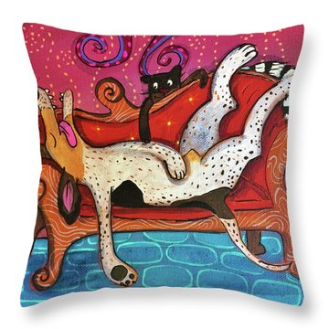 Throw Pillow featuring the painting Lazy Coonhound by Marti McGinnis