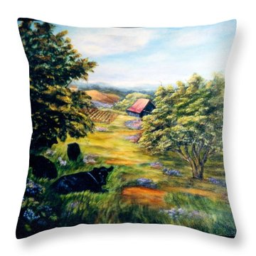 Lazy Day Throw Pillow by Gail Kirtz