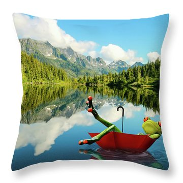 Throw Pillow featuring the digital art Lazy Days by Nathan Wright