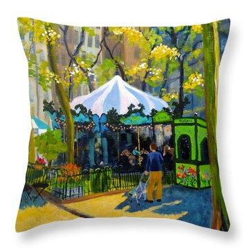 Le Carrousel In Bryant Park Throw Pillow