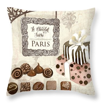 Le Chocolat Sucre Paris - Sweet Chocolate Paris Throw Pillow