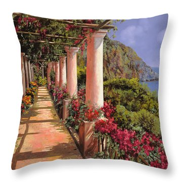 Le Colonne E La Buganville Throw Pillow