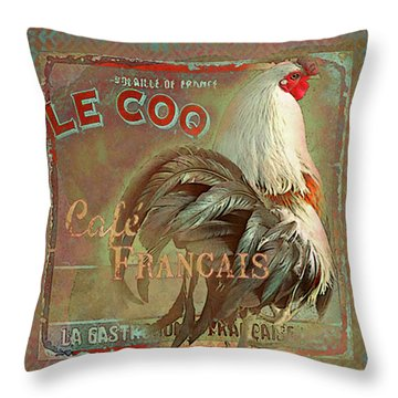 Throw Pillow featuring the digital art Le Coq - Cafe Francais by Jeff Burgess