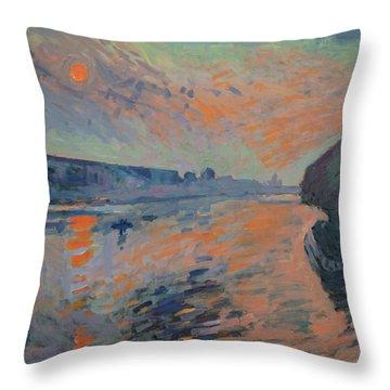 Le Coucher Du Soleil La Meuse Maastricht Throw Pillow by Nop Briex