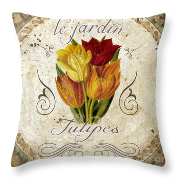 Le Jardin Tulipes Throw Pillow by Mindy Sommers