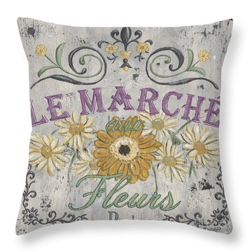 Le Marche Aux Fleurs 1 Throw Pillow by Debbie DeWitt