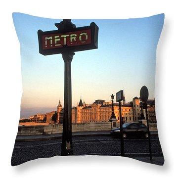 Le Metro At Dusk Throw Pillow by Kathy Yates