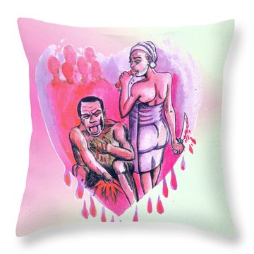 Throw Pillow featuring the painting Le Pacte by Emmanuel Baliyanga