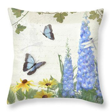 Throw Pillow featuring the painting Le Petit Jardin 1 - Garden Floral W Butterflies, Dragonflies, Daisies And Delphinium by Audrey Jeanne Roberts