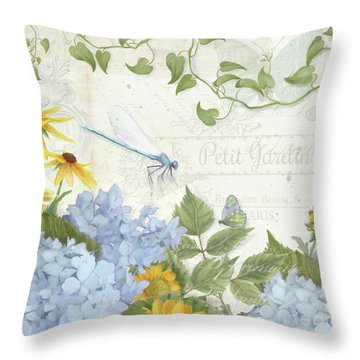 Throw Pillow featuring the painting Le Petit Jardin 2 - Garden Floral W Dragonfly, Butterfly, Daisies And Blue Hydrangeas by Audrey Jeanne Roberts