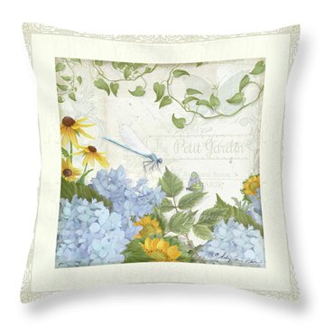 Throw Pillow featuring the painting Le Petit Jardin 2 - Garden Floral W Dragonfly, Butterfly, Daisies And Blue Hydrangeas W Border by Audrey Jeanne Roberts