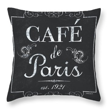 Throw Pillow featuring the painting Le Petite Bistro 3 by Debbie DeWitt