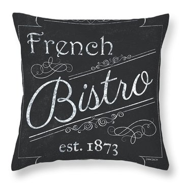 Throw Pillow featuring the painting Le Petite Bistro 4 by Debbie DeWitt