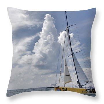 Le Pingouin Race Yacht Open 60 Throw Pillow by Dustin K Ryan
