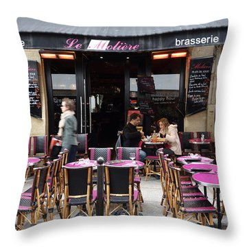 Le Pink Tables Throw Pillow