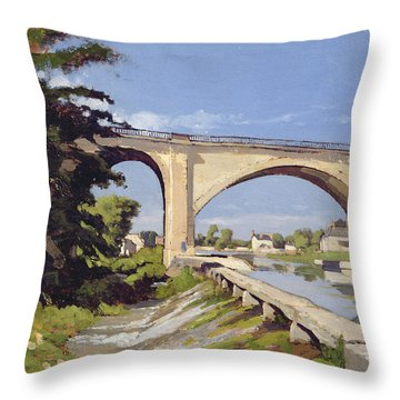 Le Pont Canal A Briare Throw Pillow by Henri Joseph Harpignies