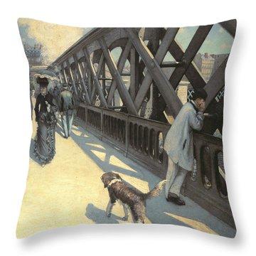 Le Pont De L'europe Throw Pillow by Gustave Caillebotte