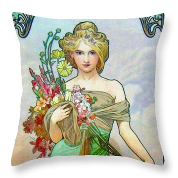 Le Printemps C1895 Throw Pillow by Padre Art