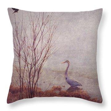 Throw Pillow featuring the photograph Le Retour De Mon Heron by Aimelle