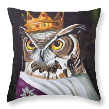 Le Royal Owl Throw Pillow by Nathan Rhoads