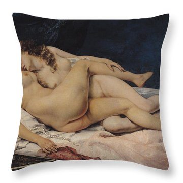 Le Sommeil Throw Pillow by Gustave Courbet